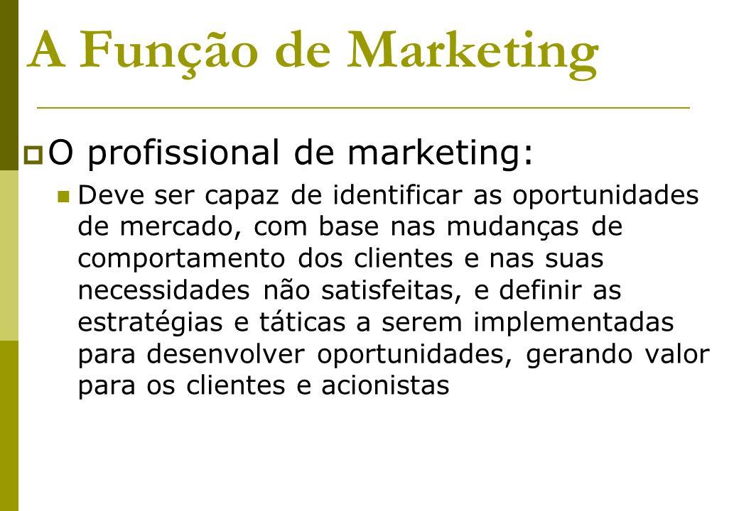 A Função de Marketing O profissional de marketing: Deve ser capaz de identificar as oportunidades de mercado, com base nas mudanças de comportamento d