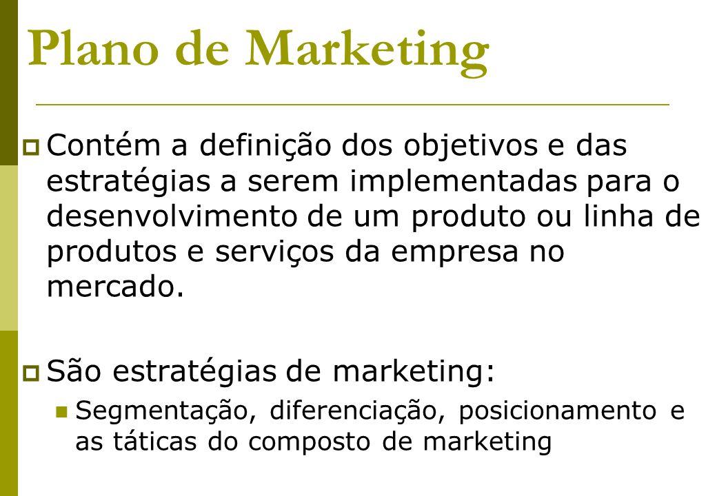 Plano de Marketing Contém a definição dos objetivos e das estratégias a serem implementadas para o desenvolvimento de um produto ou linha de produtos