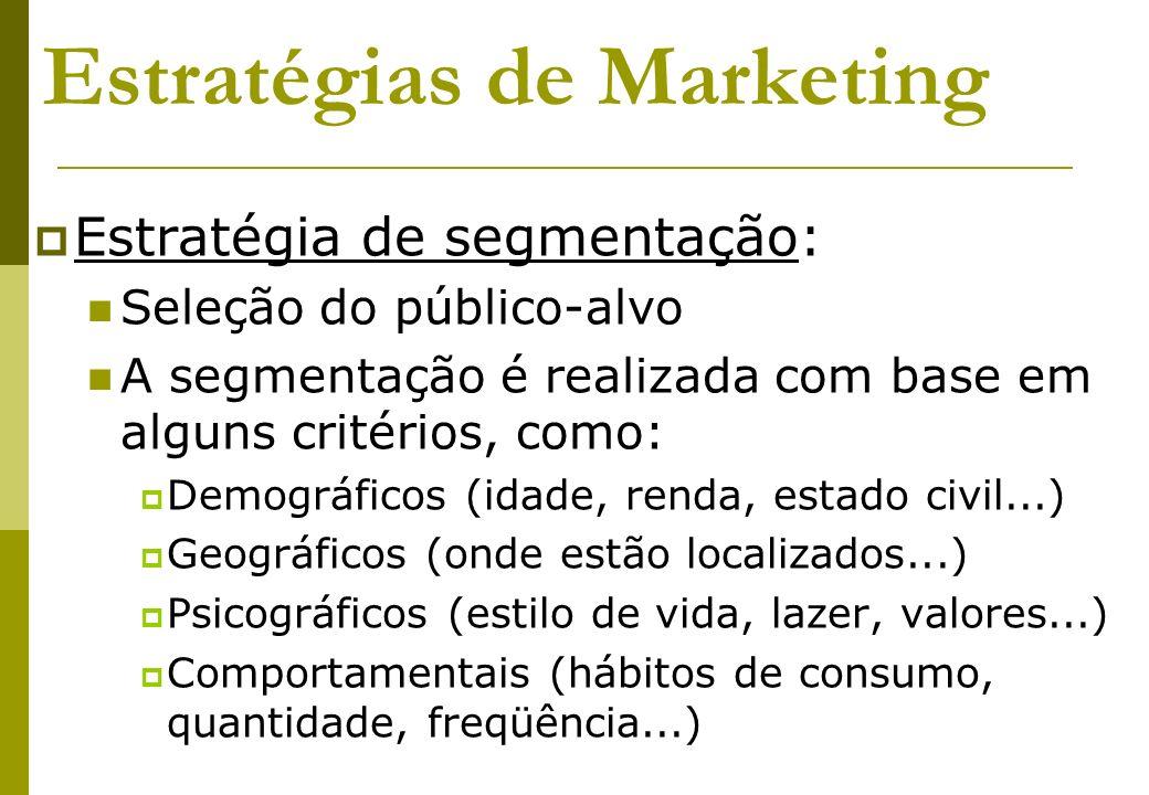 Estratégias de Marketing Estratégia de segmentação: Seleção do público-alvo A segmentação é realizada com base em alguns critérios, como: Demográficos