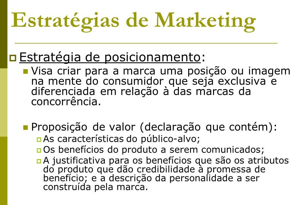 Estratégias de Marketing Estratégia de posicionamento: Visa criar para a marca uma posição ou imagem na mente do consumidor que seja exclusiva e difer