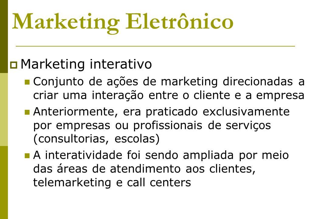 Marketing Eletrônico Marketing interativo Conjunto de ações de marketing direcionadas a criar uma interação entre o cliente e a empresa Anteriormente,