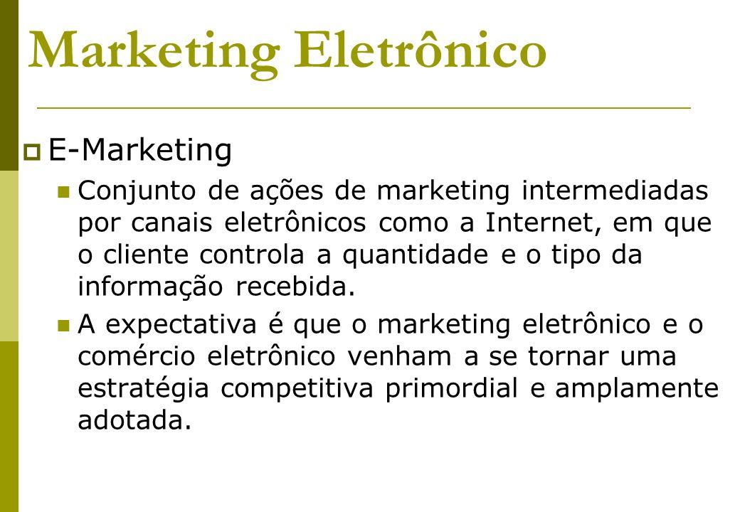 Marketing Eletrônico E-Marketing Conjunto de ações de marketing intermediadas por canais eletrônicos como a Internet, em que o cliente controla a quan
