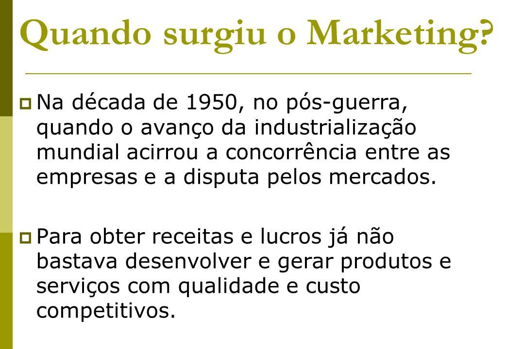 Quando surgiu o Marketing? Na década de 1950, no pós-guerra, quando o avanço da industrialização mundial acirrou a concorrência entre as empresas e a