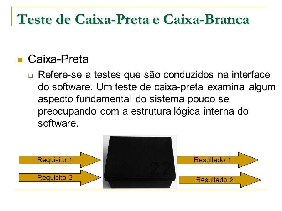 Teste de Caixa-Preta e Caixa-Branca Caixa-Preta Refere-se a testes que são conduzidos na interface do software. Um teste de caixa-preta examina algum