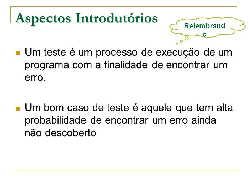 Aspectos Introdutórios Um teste é um processo de execução de um programa com a finalidade de encontrar um erro. Um bom caso de teste é aquele que tem