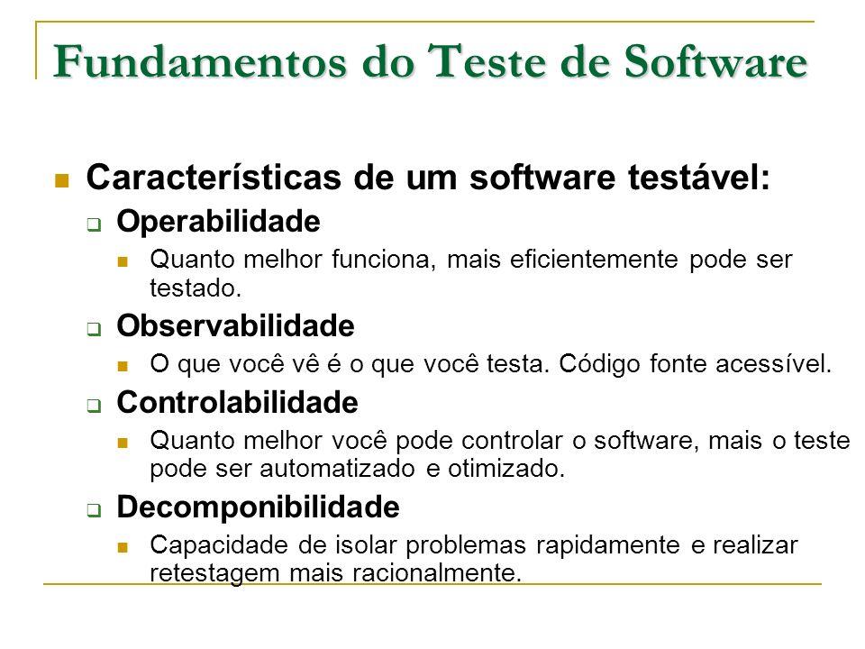 Fundamentos do Teste de Software Características de um software testável: Simplicidade Quanto menos houver a testar, mais rapidamente podemos testá-lo.