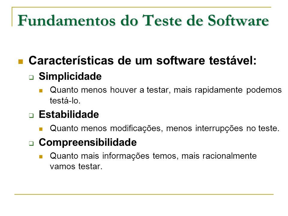 Fundamentos do Teste de Software Características de um software testável: Simplicidade Quanto menos houver a testar, mais rapidamente podemos testá-lo
