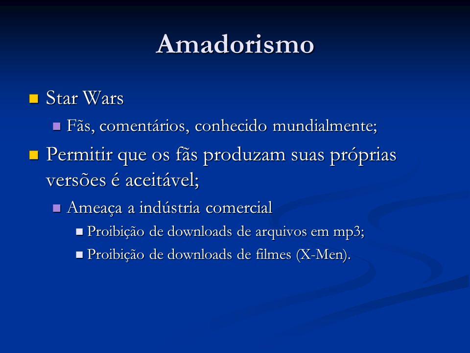 Amadorismo Star Wars Star Wars Fãs, comentários, conhecido mundialmente; Fãs, comentários, conhecido mundialmente; Permitir que os fãs produzam suas p