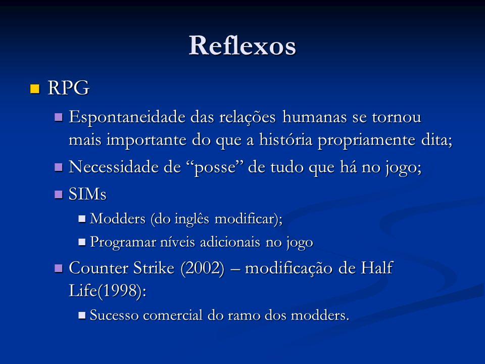 Reflexos RPG RPG Espontaneidade das relações humanas se tornou mais importante do que a história propriamente dita; Espontaneidade das relações humana