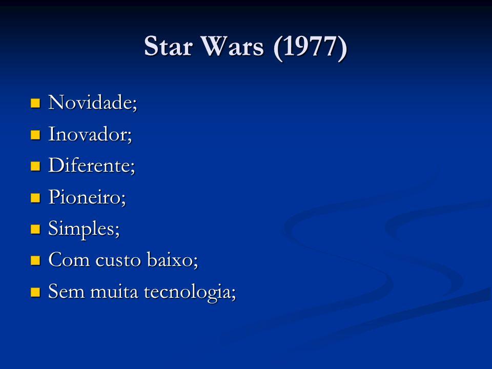 Star Wars (1977) Novidade; Novidade; Inovador; Inovador; Diferente; Diferente; Pioneiro; Pioneiro; Simples; Simples; Com custo baixo; Com custo baixo;