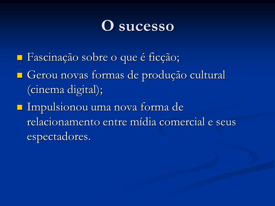 O sucesso Fascinação sobre o que é ficção; Fascinação sobre o que é ficção; Gerou novas formas de produção cultural (cinema digital); Gerou novas form