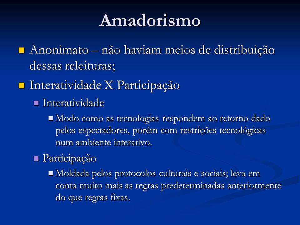 Amadorismo Anonimato – não haviam meios de distribuição dessas releituras; Anonimato – não haviam meios de distribuição dessas releituras; Interativid