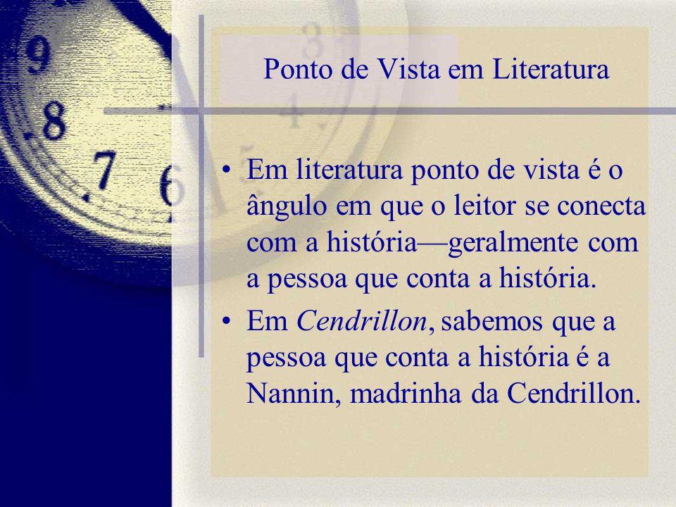 Ponto de Vista em Literatura Em literatura ponto de vista é o ângulo em que o leitor se conecta com a históriageralmente com a pessoa que conta a hist