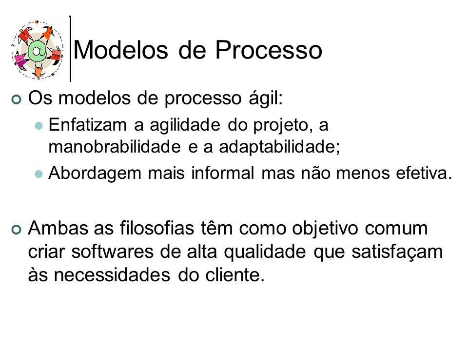 Modelos de Processo Os modelos de processo ágil: Enfatizam a agilidade do projeto, a manobrabilidade e a adaptabilidade; Abordagem mais informal mas n