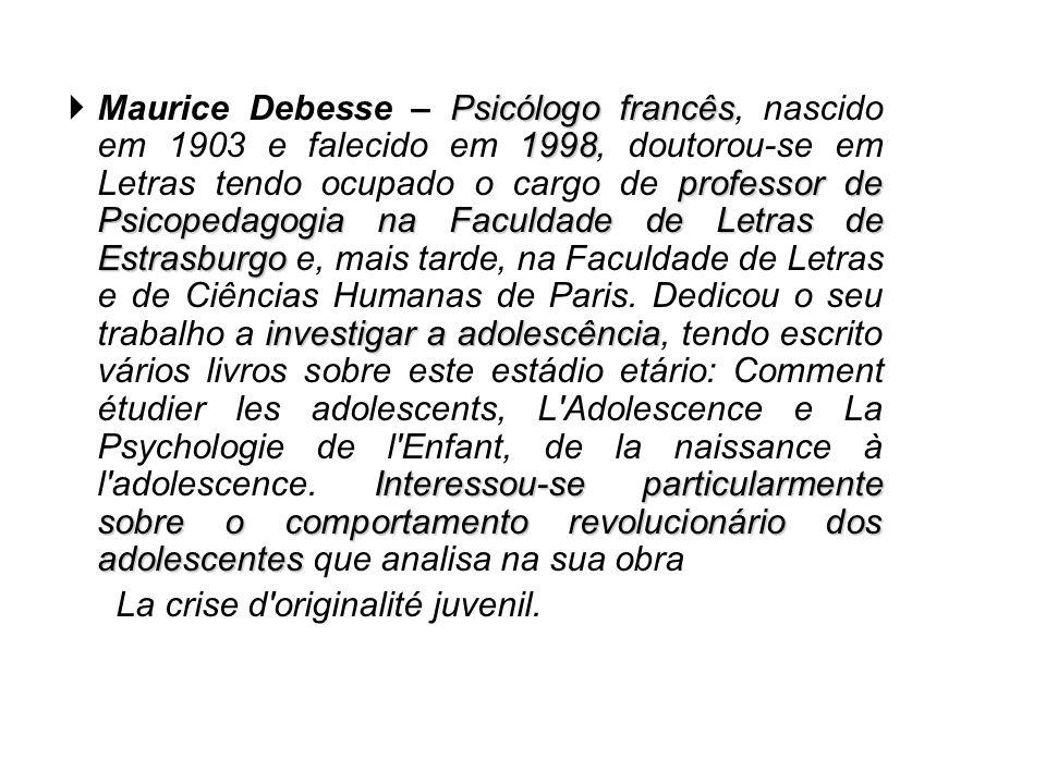 Psicólogo francês 1998 professor de Psicopedagogia na Faculdade de Letras de Estrasburgo investigar a adolescência Interessou-se particularmente sobre