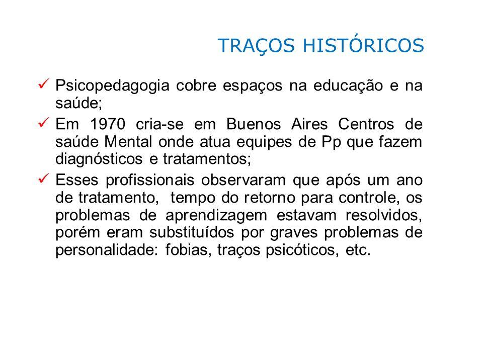 Psicopedagogia cobre espaços na educação e na saúde; Em 1970 cria-se em Buenos Aires Centros de saúde Mental onde atua equipes de Pp que fazem diagnós