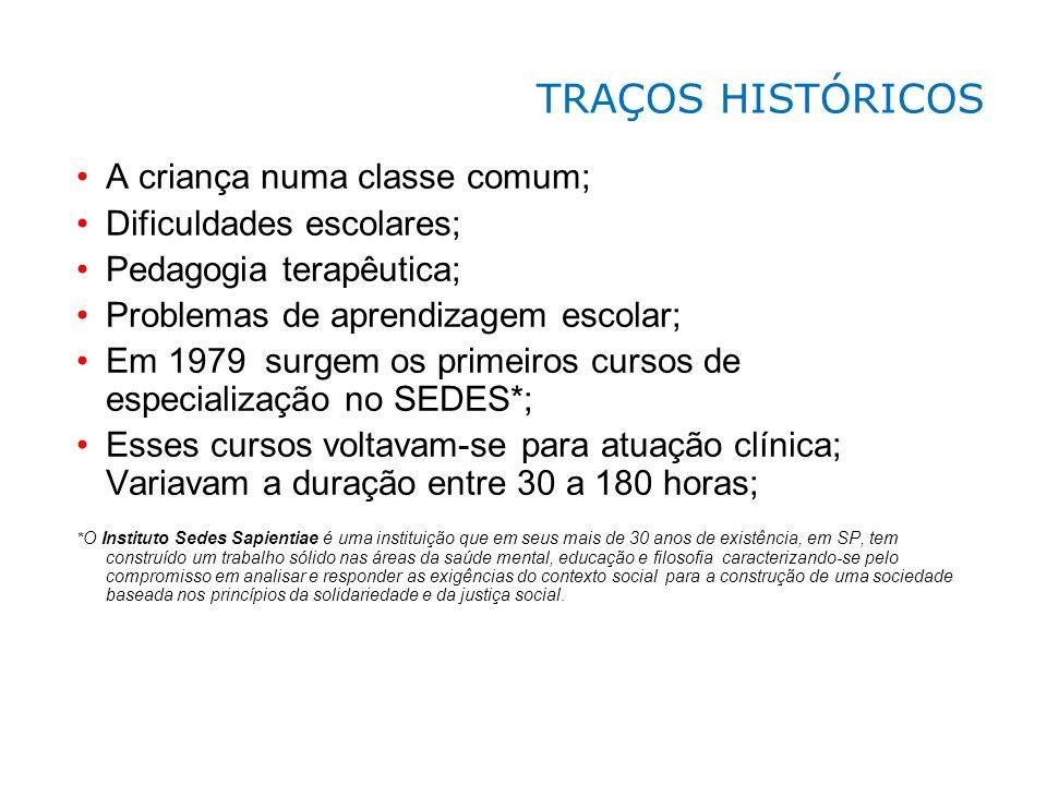 A criança numa classe comum; Dificuldades escolares; Pedagogia terapêutica; Problemas de aprendizagem escolar; Em 1979 surgem os primeiros cursos de e