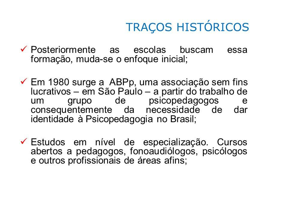 Posteriormente as escolas buscam essa formação, muda-se o enfoque inicial; Em 1980 surge a ABPp, uma associação sem fins lucrativos – em São Paulo – a