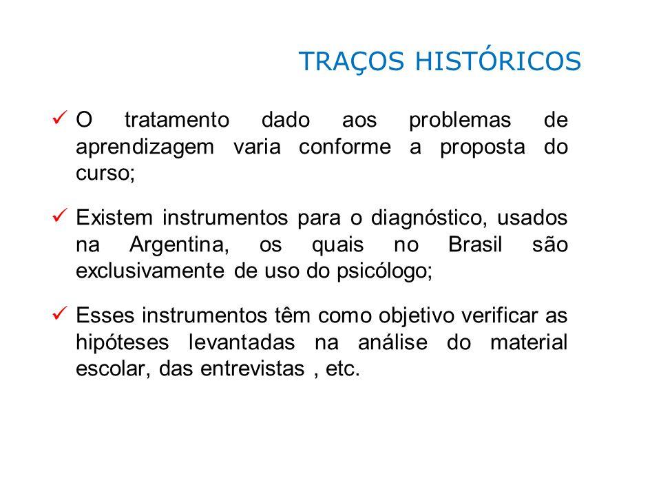 O tratamento dado aos problemas de aprendizagem varia conforme a proposta do curso; Existem instrumentos para o diagnóstico, usados na Argentina, os q