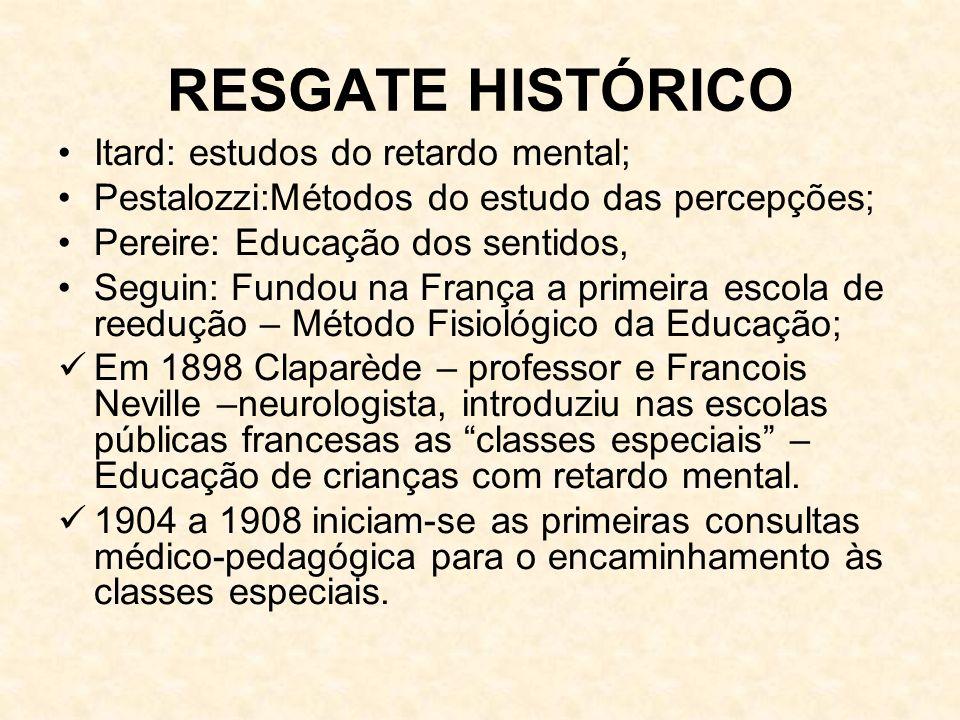 RESGATE HISTÓRICO Itard: estudos do retardo mental; Pestalozzi:Métodos do estudo das percepções; Pereire: Educação dos sentidos, Seguin: Fundou na Fra