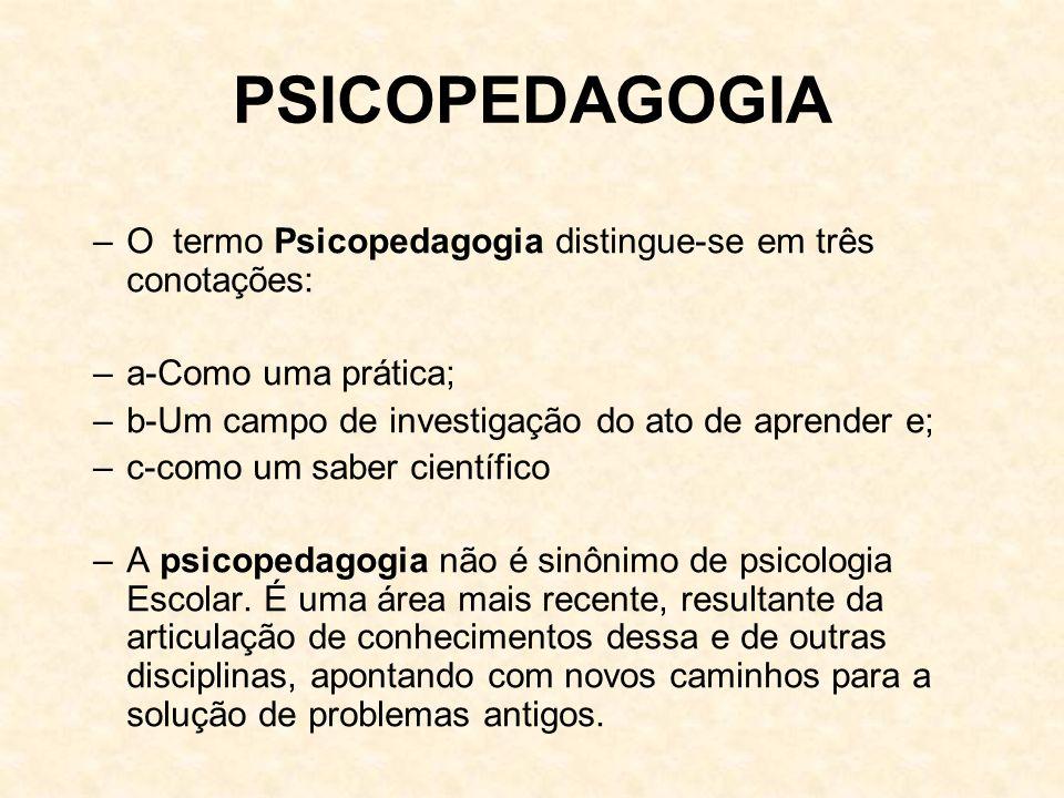 PSICOPEDAGOGIA –O termo Psicopedagogia distingue-se em três conotações: –a-Como uma prática; –b-Um campo de investigação do ato de aprender e; –c-como