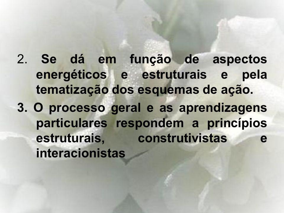 2. Se dá em função de aspectos energéticos e estruturais e pela tematização dos esquemas de ação. 3. O processo geral e as aprendizagens particulares