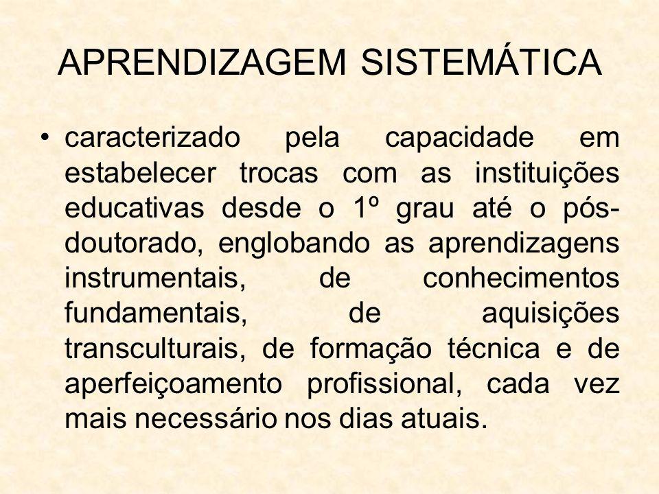 APRENDIZAGEM SISTEMÁTICA caracterizado pela capacidade em estabelecer trocas com as instituições educativas desde o 1º grau até o pós- doutorado, engl