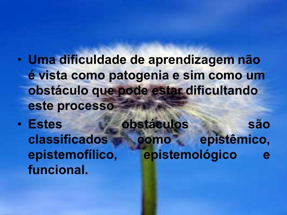 Uma dificuldade de aprendizagem não é vista como patogenia e sim como um obstáculo que pode estar dificultando este processo Estes obstáculos são clas