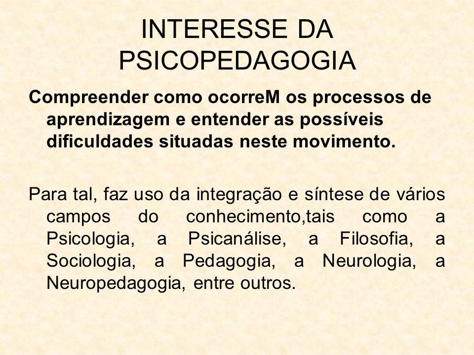 INTERESSE DA PSICOPEDAGOGIA Compreender como ocorreM os processos de aprendizagem e entender as possíveis dificuldades situadas neste movimento. Para