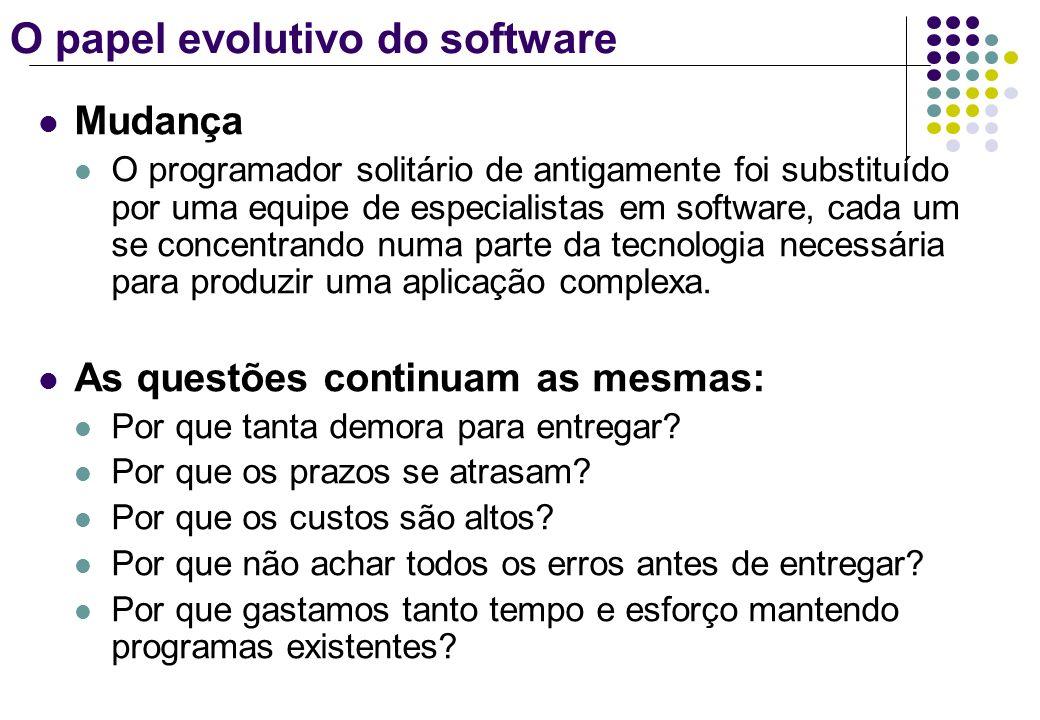 O papel evolutivo do software Mudança O programador solitário de antigamente foi substituído por uma equipe de especialistas em software, cada um se c