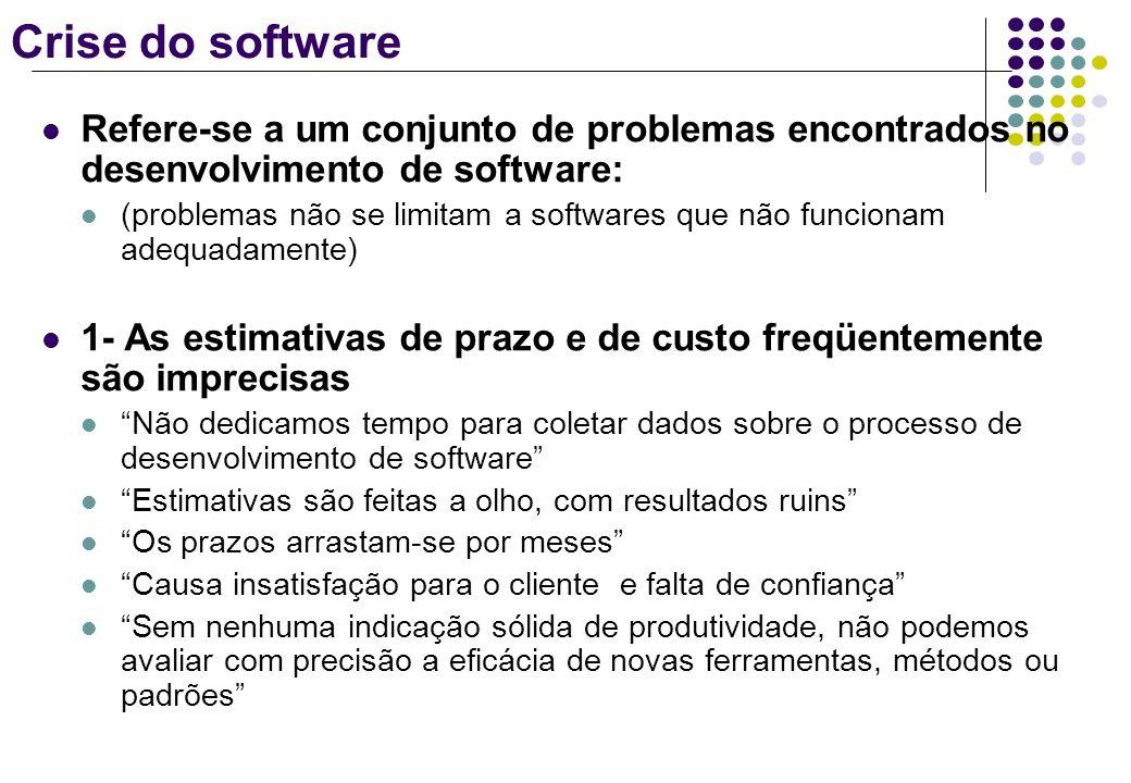 Crise do software Refere-se a um conjunto de problemas encontrados no desenvolvimento de software: (problemas não se limitam a softwares que não funci