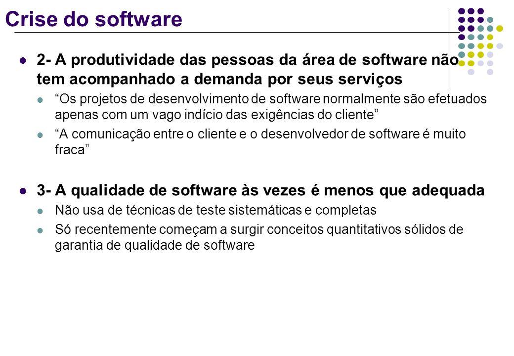 Crise do software 2- A produtividade das pessoas da área de software não tem acompanhado a demanda por seus serviços Os projetos de desenvolvimento de