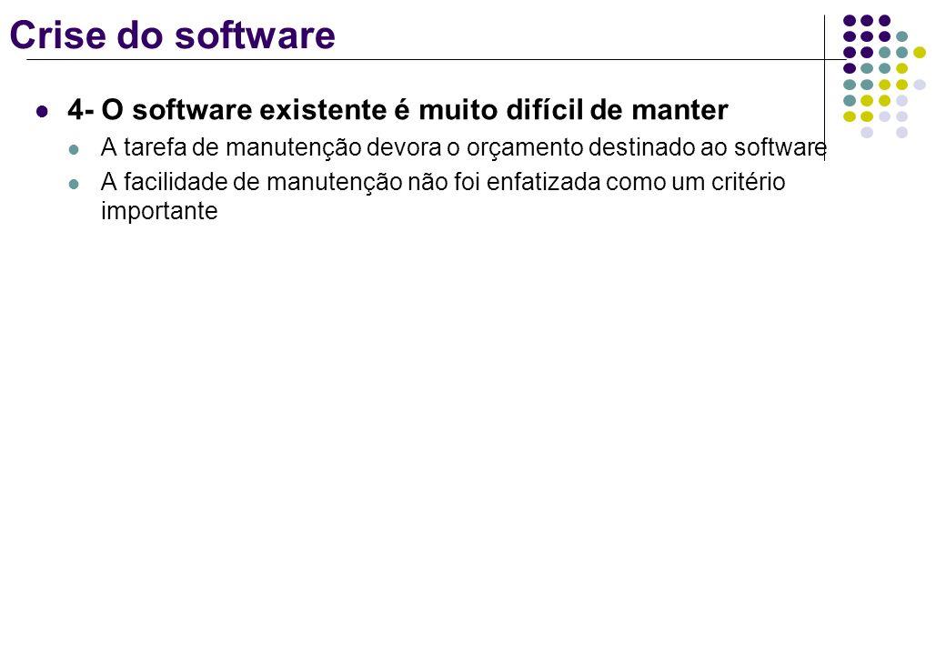 Crise do software 4- O software existente é muito difícil de manter A tarefa de manutenção devora o orçamento destinado ao software A facilidade de ma