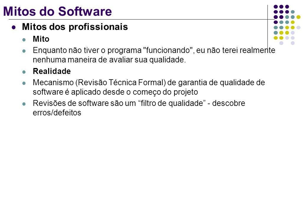 Mitos do Software Mitos dos profissionais Mito Enquanto não tiver o programa