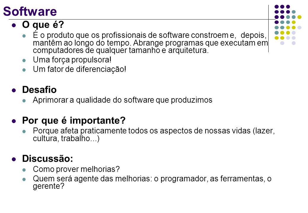 Software O que é? É o produto que os profissionais de software constroem e, depois, mantêm ao longo do tempo. Abrange programas que executam em comput
