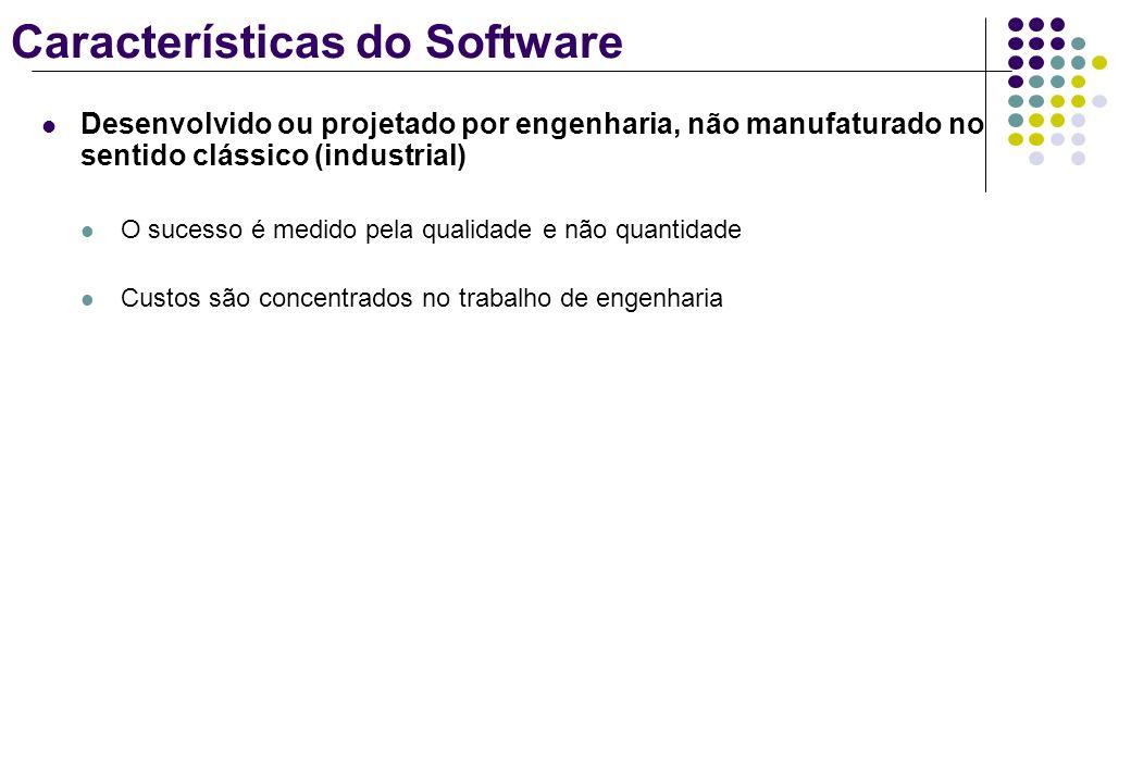 Características do Software Desenvolvido ou projetado por engenharia, não manufaturado no sentido clássico (industrial) O sucesso é medido pela qualid