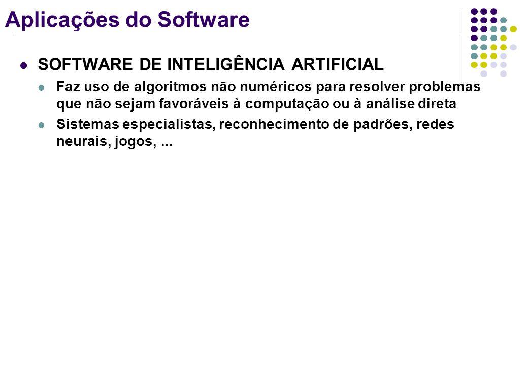 Aplicações do Software SOFTWARE DE INTELIGÊNCIA ARTIFICIAL Faz uso de algoritmos não numéricos para resolver problemas que não sejam favoráveis à comp