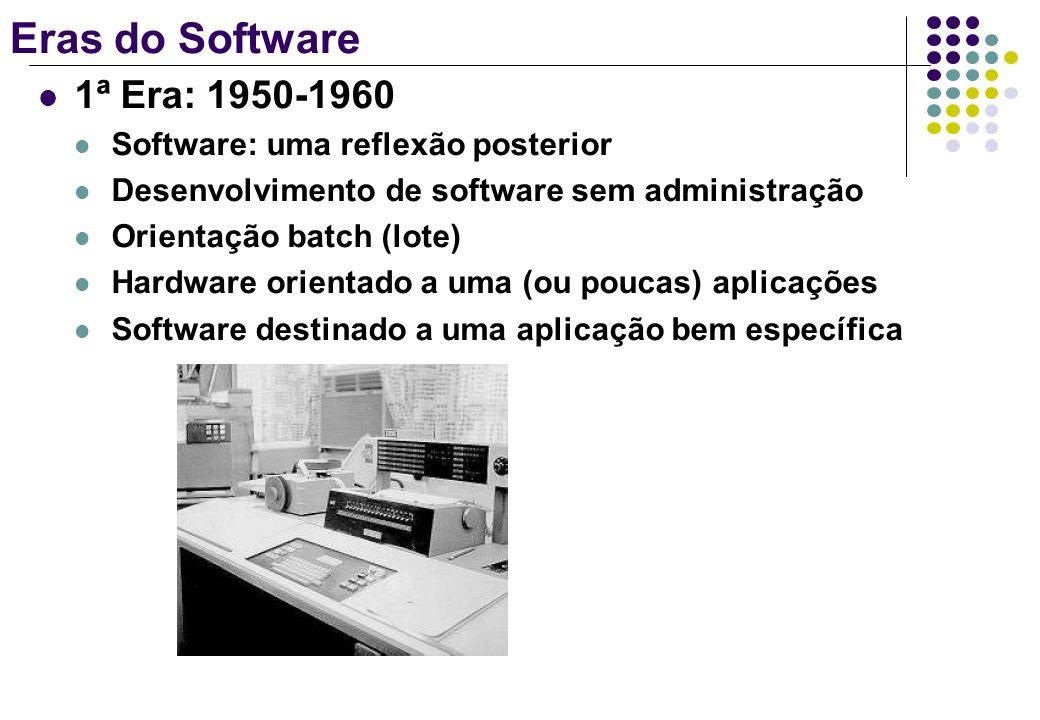 Eras do Software 2ª Era: 1960-1970 Multiprogramação Sistemas multi-usuários Sistemas de tempo real Software voltado à ampla distribuição Horizonte incerto: milhares de linhas de programas/instruções teriam de ser corrigidas (ou alteradas)