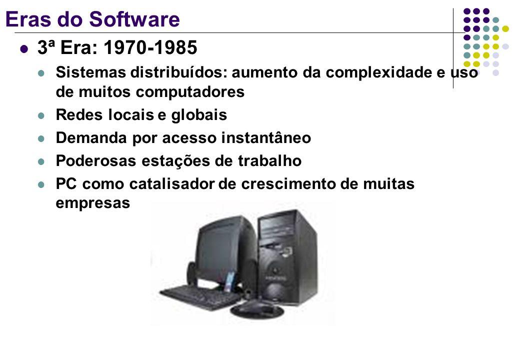 Eras do Software 3ª Era: 1970-1985 Sistemas distribuídos: aumento da complexidade e uso de muitos computadores Redes locais e globais Demanda por aces
