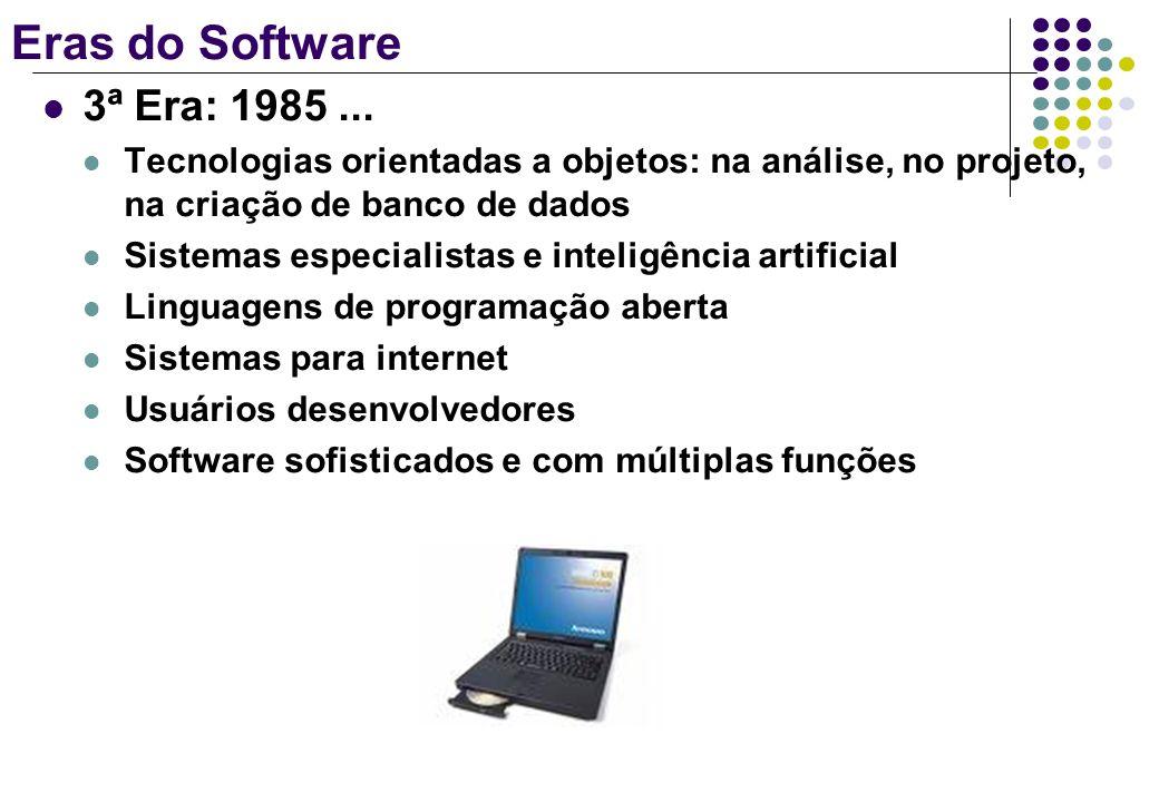 Eras do Software 3ª Era: 1985... Tecnologias orientadas a objetos: na análise, no projeto, na criação de banco de dados Sistemas especialistas e intel