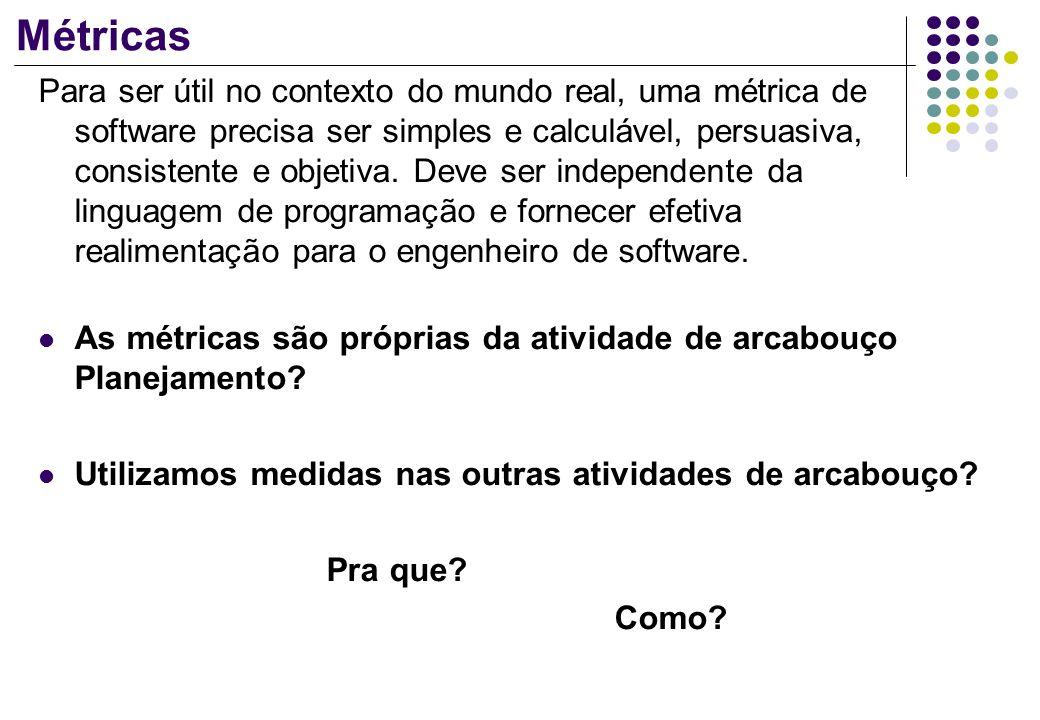 Métricas Para ser útil no contexto do mundo real, uma métrica de software precisa ser simples e calculável, persuasiva, consistente e objetiva. Deve s
