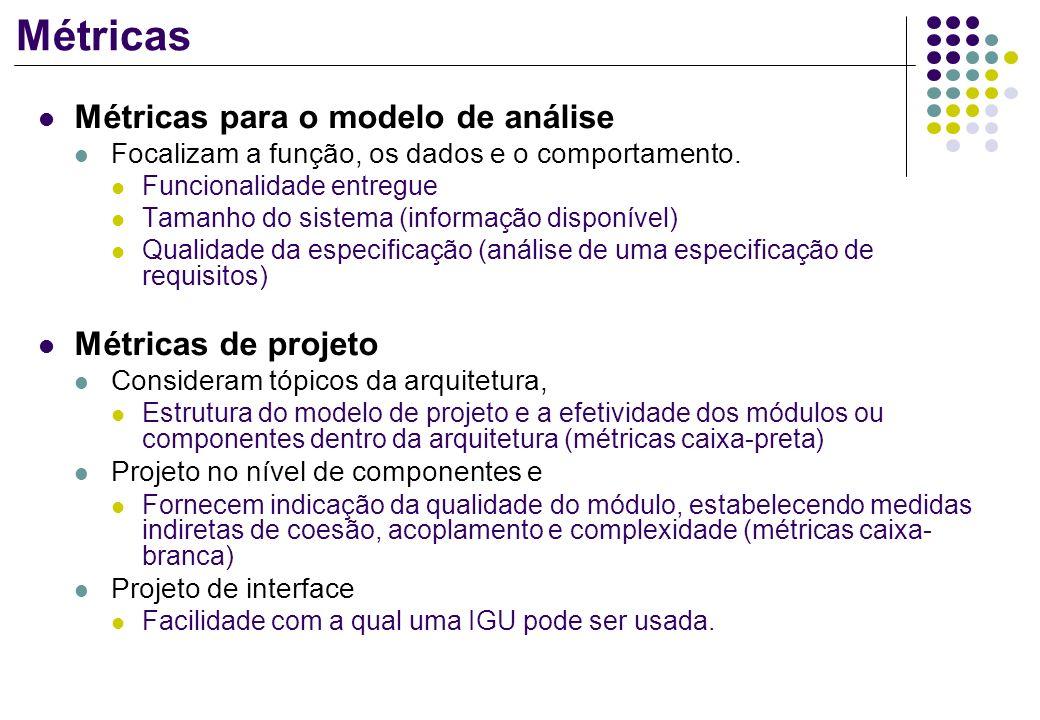 Métricas Métricas para o modelo de análise Focalizam a função, os dados e o comportamento. Funcionalidade entregue Tamanho do sistema (informação disp