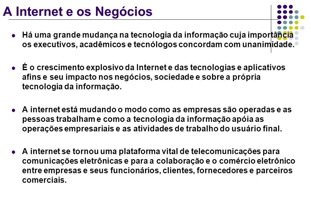 A Internet e os Negócios Sites comerciais na Internet se tornaram casas de compensação para a troca interativa de informações por email, sistemas de chat, fóruns de discussão e edição de multimídias.