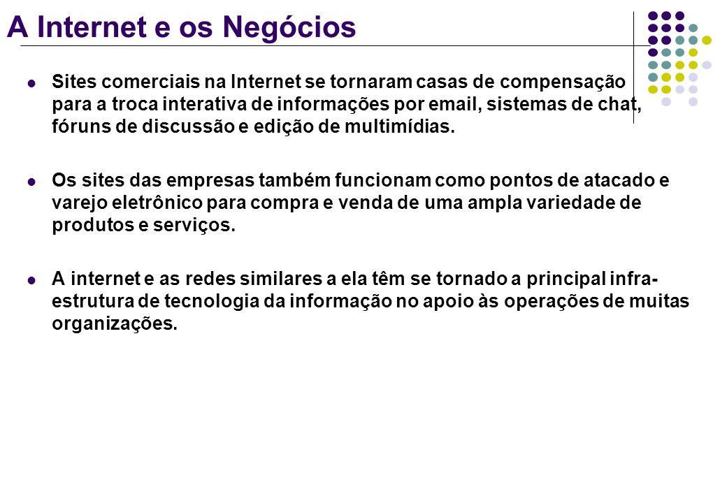 A Internet e os Negócios Sites comerciais na Internet se tornaram casas de compensação para a troca interativa de informações por email, sistemas de c