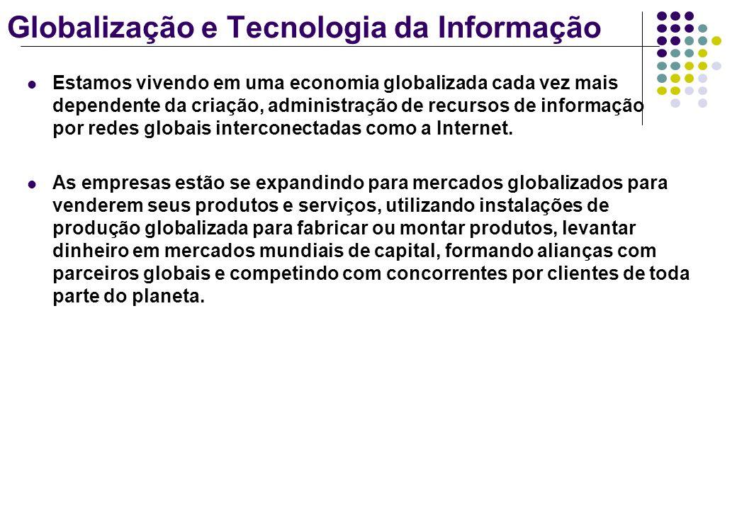 Globalização e Tecnologia da Informação Estamos vivendo em uma economia globalizada cada vez mais dependente da criação, administração de recursos de