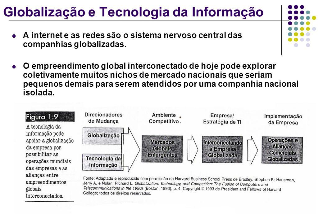 Globalização e Tecnologia da Informação A internet e as redes são o sistema nervoso central das companhias globalizadas. O empreendimento global inter