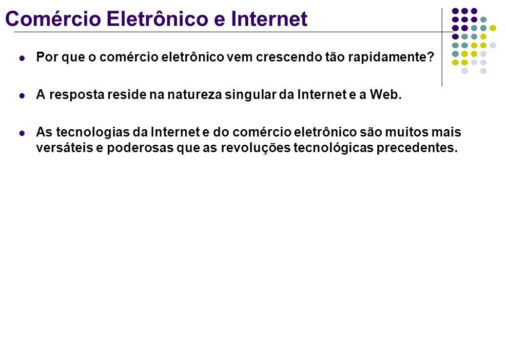 Comércio Eletrônico e Internet Por que o comércio eletrônico vem crescendo tão rapidamente? A resposta reside na natureza singular da Internet e a Web