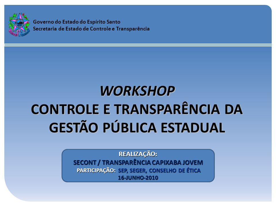 Governo do Estado do Espírito Santo Secretaria de Estado de Controle e Transparência WORKSHOP CONTROLE E TRANSPARÊNCIA DA GESTÃO PÚBLICA ESTADUAL REAL