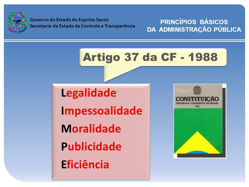 Governo do Estado do Espírito Santo Secretaria de Estado de Controle e Transparência Legalidade Impessoalidade Impessoalidade Moralidade Moralidade Pu