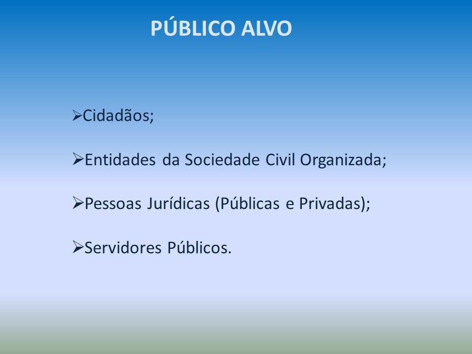 Cidadãos; Entidades da Sociedade Civil Organizada; Pessoas Jurídicas (Públicas e Privadas); Servidores Públicos. PÚBLICO ALVO